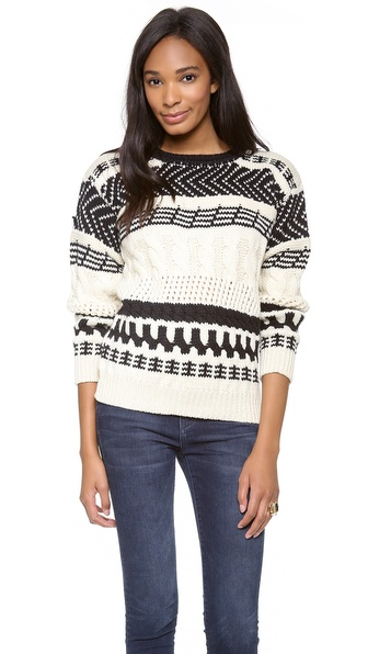 Cut25 by Yigal Azrouel Arrow Cable Knit Sweater
