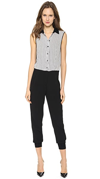 Cut25 by Yigal Azrouel Pinstripe Combo Crepe Jumpsuit