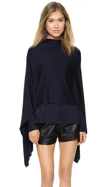 Cut25 by Yigal Azrouel Drape Cape Modal Top