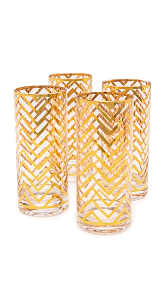 C. Wonder Chevron Tall Drinking Glass Set
