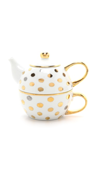 C. Wonder Ikat Polka Dot Tea For One - Gold/Silver/White