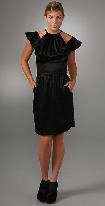 Cynthia Rowley Flutter Sleeve Halter Dress