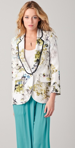 Cynthia Rowley Bouquet Print Tuxedo Jacket
