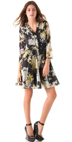 Cynthia Rowley Smokey Botanical Henley Dress