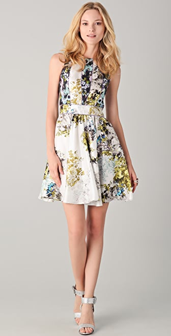 Cynthia Rowley Mixed Distorted Floral Dress