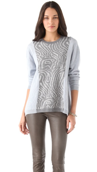 Cynthia Rowley Pieced Wood Grain Sweater