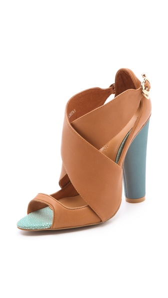 Cynthia Rowley Leather Crisscross Sandals