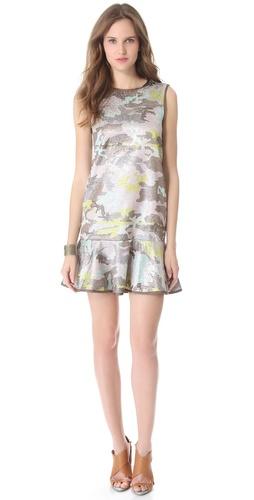 Cynthia Rowley Brocade Flounce Dress