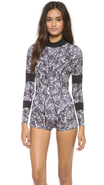 Cynthia Rowley Printed Wetsuit - Black Lace
