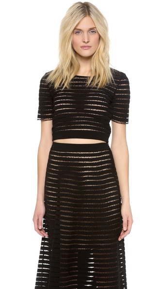 Cynthia Rowley Short Sleeve Crop Top