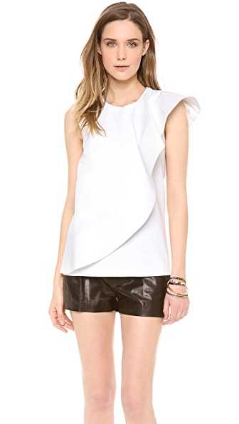 Cynthia Rowley Asymmetrical Ruffle Top