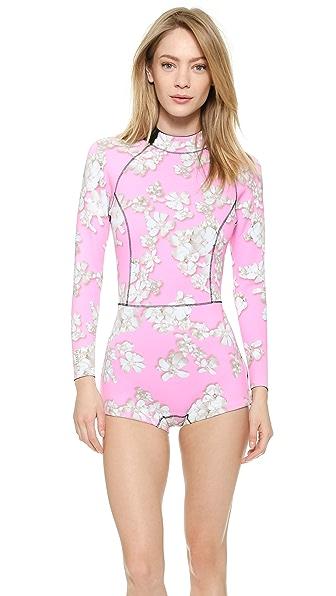 Pink Embellished Floral Wetsuit (Multicolor)