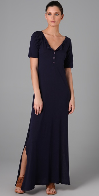 Daftbird Henley Long Dress with Side Slits