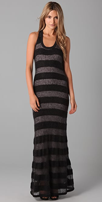 Dallin Chase Carter Sheer Striped Long Dress