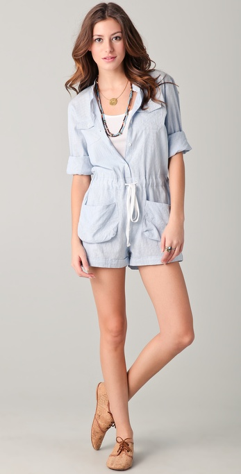 Dallin Chase Fieldston Oxford Striped Romper