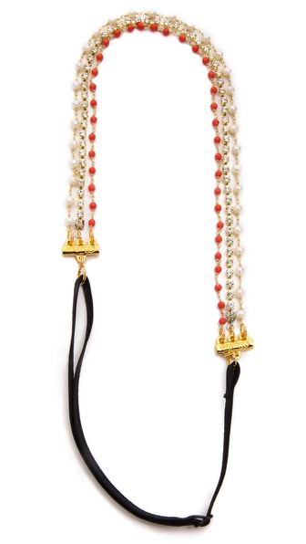 Dauphines Of New York Little Gem Headband - Coral/Pearl at Shopbop / East Dane