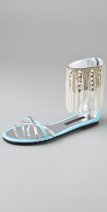 Ruthie Davis Love Fringed Ankle Cuff Sandals