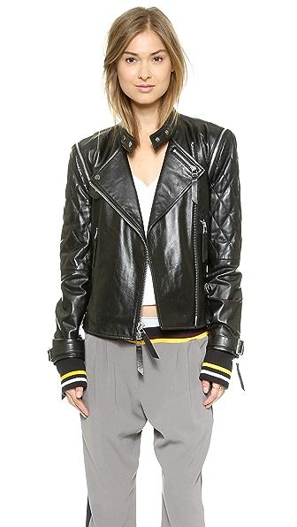 Кожаная байкерская куртка DKNY x Cara Delevingne. Цвет: голубой