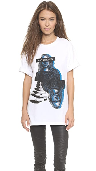 Dkny X Cara Delevingne Dont Worry Oversized Tee - White