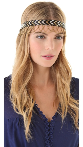 Deepa Gurnani Chain Fringed Chevron Headband