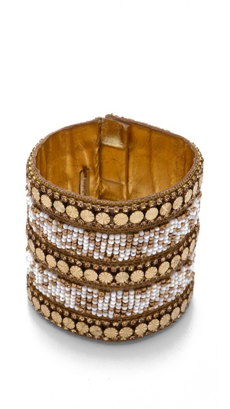 Deepa Gurnani Gold & Ivory Beaded Cuff