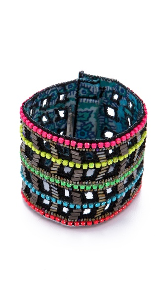 Deepa Gurnani Neon Chevron Beaded Cuff