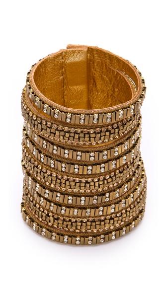 Deepa Gurnani Wide Gold Embellished Cuff