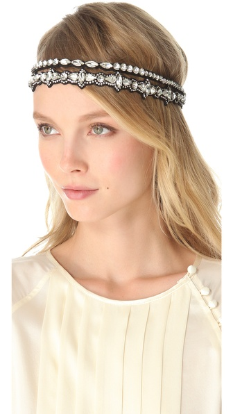 Deepa Gurnani Double Strand Crystal Headband