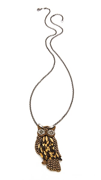 Deepa Gurnani Owl Pendant Necklace