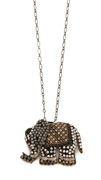 Deepa Gurnani Elephant Pendant Necklace
