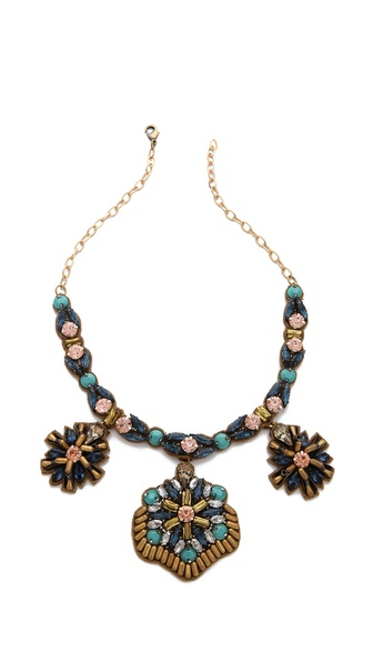 Deepa Gurnani Floral Drop Stone Necklace
