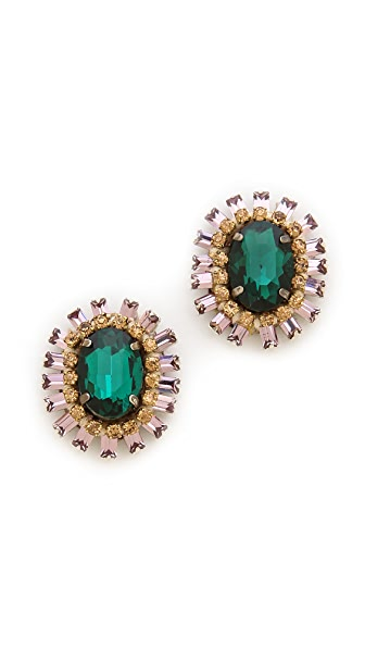 Deepa Gurnani Crystal Button Earrings