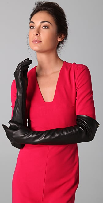 Diane von Furstenberg Cameron Long Leather Gloves