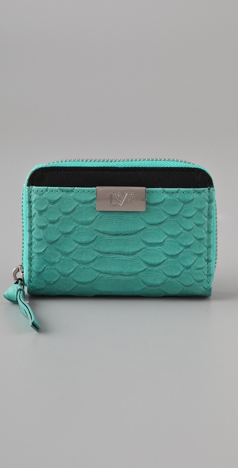 Diane von Furstenberg Zip Around Python Wallet