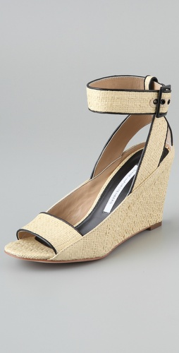 Diane von Furstenberg Senegal Raffia Wedge Sandals