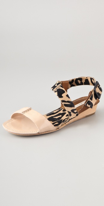 Diane von Furstenberg Janee Haircalf Wedge Sandals