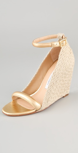 Diane von Furstenberg Tchad Metallic Wedge Sandals
