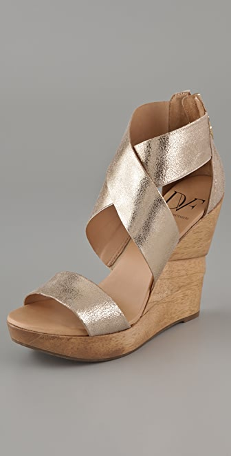 Diane von Furstenberg Opal X Cross Wedge Sandals