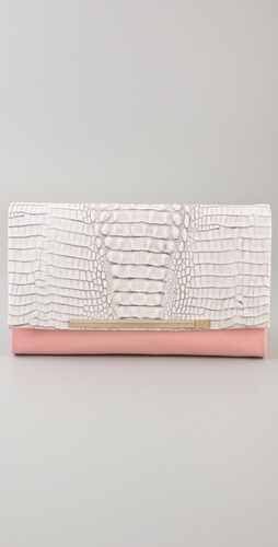 Diane von Furstenberg Adele Embossed Crocodile Clutch