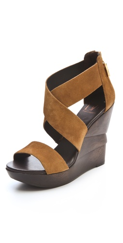 Diane von Furstenberg Opal Suede Crisscross Wedge Sandals