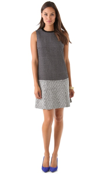 Diane von Furstenberg Aida Dash Weave Dress with Leather Trim