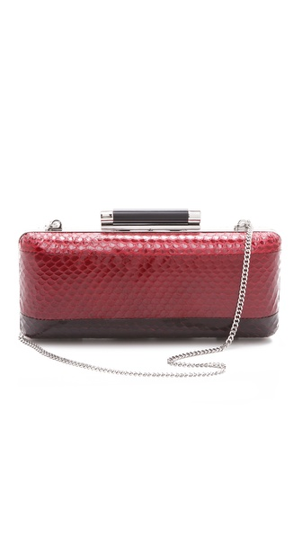 Diane von Furstenberg Tonda Striped Snakeskin Clutch