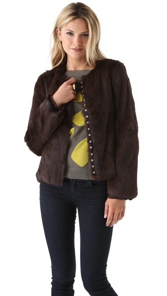 Diane von Furstenberg Marchie Rabbit Fur Coat