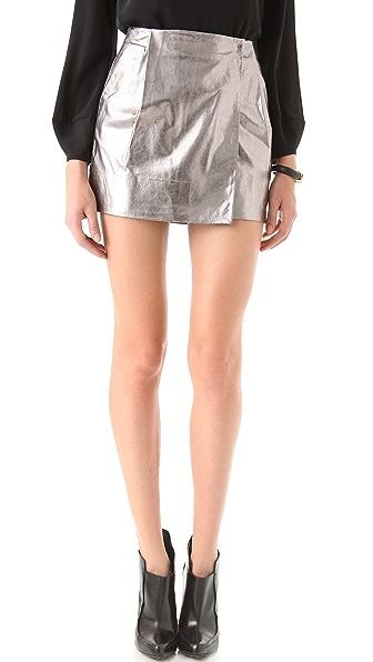 Diane von Furstenberg Lolita Metallic Leather Skirt