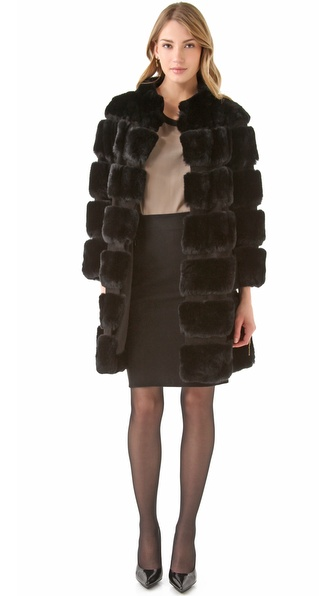 Diane von Furstenberg Funnelia Rabbit Fur Coat