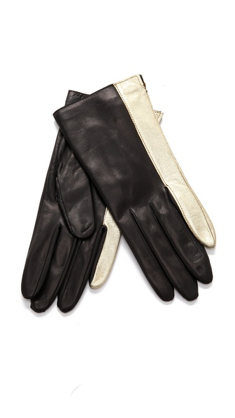 Diane von Furstenberg Colorblock Finger Gloves