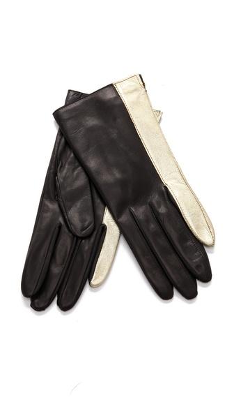 Diane von Furstenberg Colorblock Finger Gloves