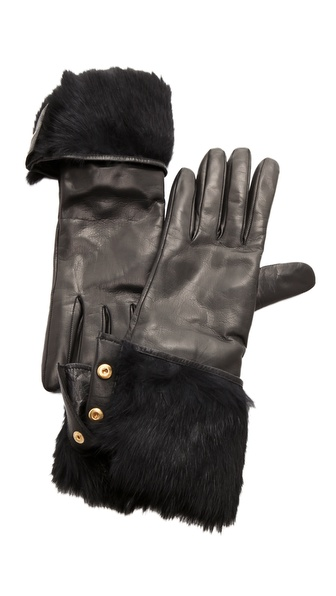Diane von Furstenberg Rabbit Lined Snap Glove