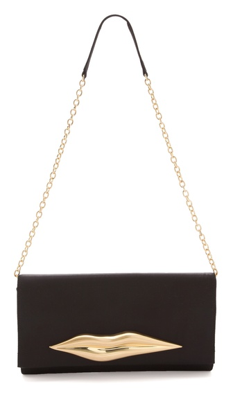 Diane von Furstenberg Carolina Lips Satin Clutch