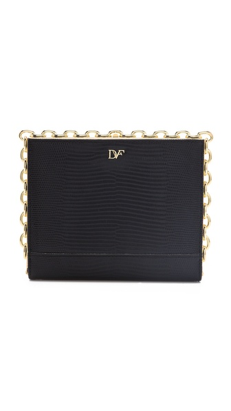Diane von Furstenberg Catena Lizard Embossed Clutch